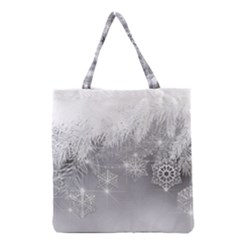 New Year Holiday Snowflakes Tree Branches Grocery Tote Bag by Sapixe