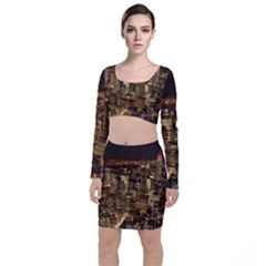 New York City At Night Future City Night Long Sleeve Crop Top & Bodycon Skirt Set