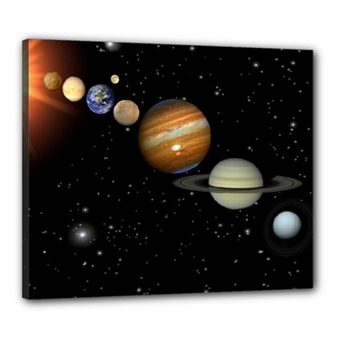 Outer Space Planets Solar System Canvas 24  X 20  by Sapixe