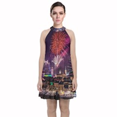 New Year New Year's Eve In Salzburg Austria Holiday Celebration Fireworks Velvet Halter Neckline Dress  by Sapixe