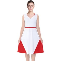 Roundel Of Austrian Air Force  V Neck Midi Sleeveless Dress