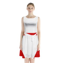 Roundel Of Austrian Air Force  Sleeveless Waist Tie Chiffon Dress