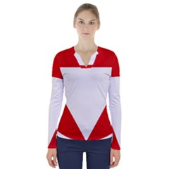 Roundel Of Austrian Air Force  V Neck Long Sleeve Top
