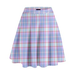 Pink Blue Plaid High Waist Skirt by snowwhitegirl
