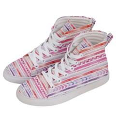 Watercolor Tribal Pattern Women s Hi Top Skate Sneakers by tarastyle