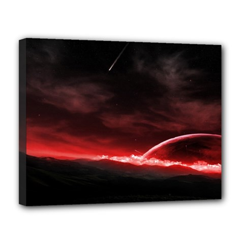 Outer Space Red Stars Star Canvas 14  X 11  by Sapixe