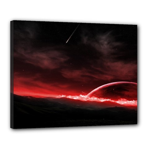 Outer Space Red Stars Star Canvas 20  X 16  by Sapixe