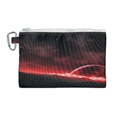 Outer Space Red Stars Star Canvas Cosmetic Bag (large) by Sapixe
