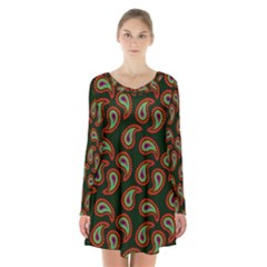 Pattern Abstract Paisley Swirls Long Sleeve Velvet V Neck Dress by Sapixe