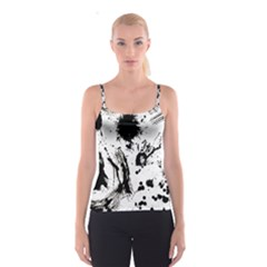 Pattern Color Painting Dab Black Spaghetti Strap Top by Sapixe