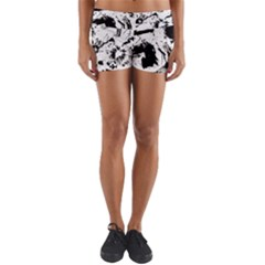 Pattern Color Painting Dab Black Yoga Shorts by Sapixe