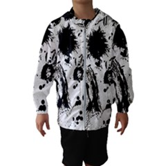 Pattern Color Painting Dab Black Hooded Wind Breaker (kids) by Sapixe