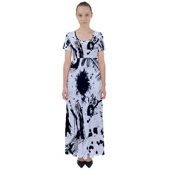 Pattern Color Painting Dab Black High Waist Short Sleeve Maxi Dress by Sapixe