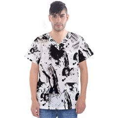 Pattern Color Painting Dab Black Men s V Neck Scrub Top by Sapixe