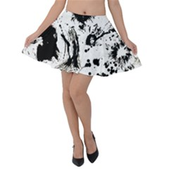Pattern Color Painting Dab Black Velvet Skater Skirt by Sapixe