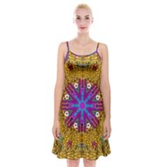 Golden Retro Medival Festive Fantasy Nature Spaghetti Strap Velvet Dress by pepitasart