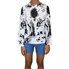 Pattern Color Painting Dab Black Kids  Long Sleeve Swimwear by Sapixe