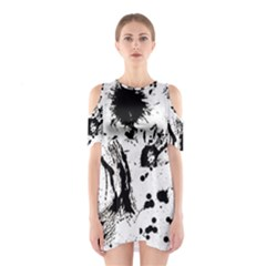 Pattern Color Painting Dab Black Shoulder Cutout One Piece by Sapixe