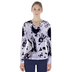 Pattern Color Painting Dab Black V Neck Long Sleeve Top by Sapixe