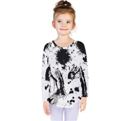 Pattern Color Painting Dab Black Kids  Long Sleeve Tee by Sapixe