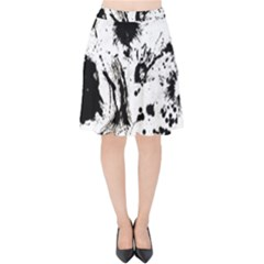 Pattern Color Painting Dab Black Velvet High Waist Skirt by Sapixe