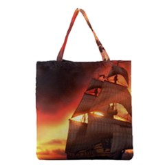 Pirate Ship Caribbean Grocery Tote Bag by Sapixe