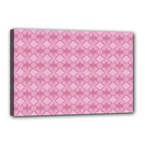 Pattern Pink Grid Pattern Canvas 18  X 12  by Sapixe