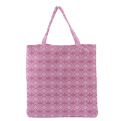 Pattern Pink Grid Pattern Grocery Tote Bag by Sapixe