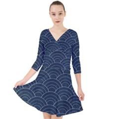 Japan Sashiko Navy Ornament Quarter Sleeve Front Wrap Dress
