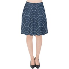 Japan Sashiko Navy Ornament Velvet High Waist Skirt by goljakoff