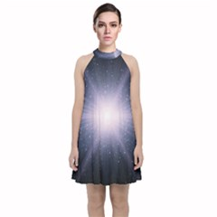 Real Photographs In Saturns Rings Velvet Halter Neckline Dress  by Sapixe