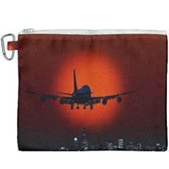 Red Sun Jet Flying Over The City Art Canvas Cosmetic Bag (xxxl) by Sapixe