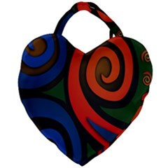 Simple Batik Patterns Giant Heart Shaped Tote
