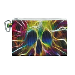 Skulls Multicolor Fractalius Colors Colorful Canvas Cosmetic Bag (large) by Sapixe