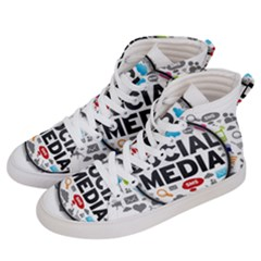 Social Media Computer Internet Typography Text Poster Men s Hi Top Skate Sneakers by Sapixe