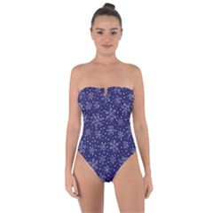 Snowflakes Pattern Tie Back One Piece Swimsuit by Sapixe