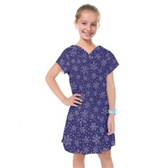 Snowflakes Pattern Kids  Drop Waist Dress by Sapixe