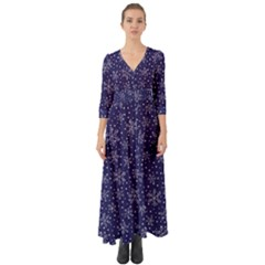 Snowflakes Pattern Button Up Boho Maxi Dress by Sapixe