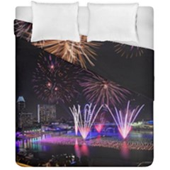 Singapore The Happy New Year Hotel Celebration Laser Light Fireworks Marina Bay Duvet Cover Double Side (california King Size) by Sapixe