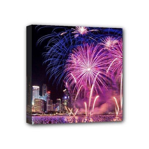 Singapore New Years Eve Holiday Fireworks City At Night Mini Canvas 4  X 4  by Sapixe