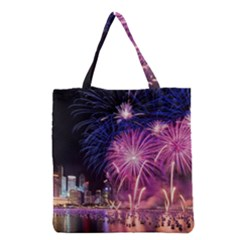 Singapore New Years Eve Holiday Fireworks City At Night Grocery Tote Bag by Sapixe