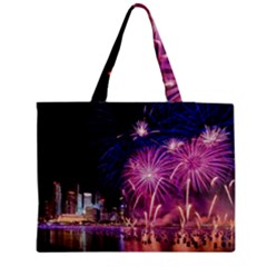 Singapore New Years Eve Holiday Fireworks City At Night Zipper Medium Tote Bag by Sapixe