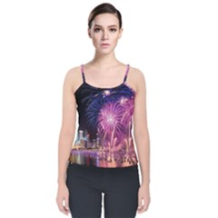 Singapore New Years Eve Holiday Fireworks City At Night Velvet Spaghetti Strap Top