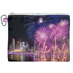 Singapore New Years Eve Holiday Fireworks City At Night Canvas Cosmetic Bag (xxl)