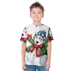 Snowman With Scarf Kids  Cotton Tee