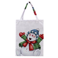 Snowman With Scarf Classic Tote Bag by Sapixe