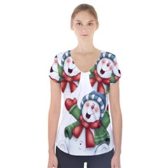 Snowman With Scarf Short Sleeve Front Detail Top