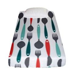 Spoon Fork Knife Pattern Fitted Sheet (single Size) by Sapixe