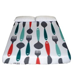 Spoon Fork Knife Pattern Fitted Sheet (king Size) by Sapixe