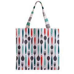 Spoon Fork Knife Pattern Zipper Grocery Tote Bag by Sapixe